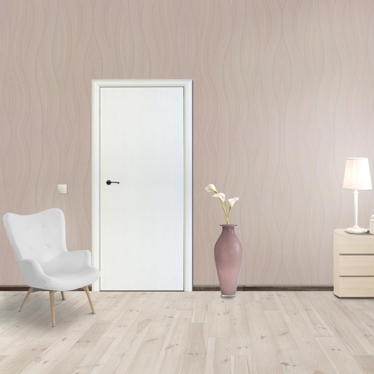 Дверь Межкомнатная Глухая Стандарт 60x200 Ламинация Цвет Бьянко 3d