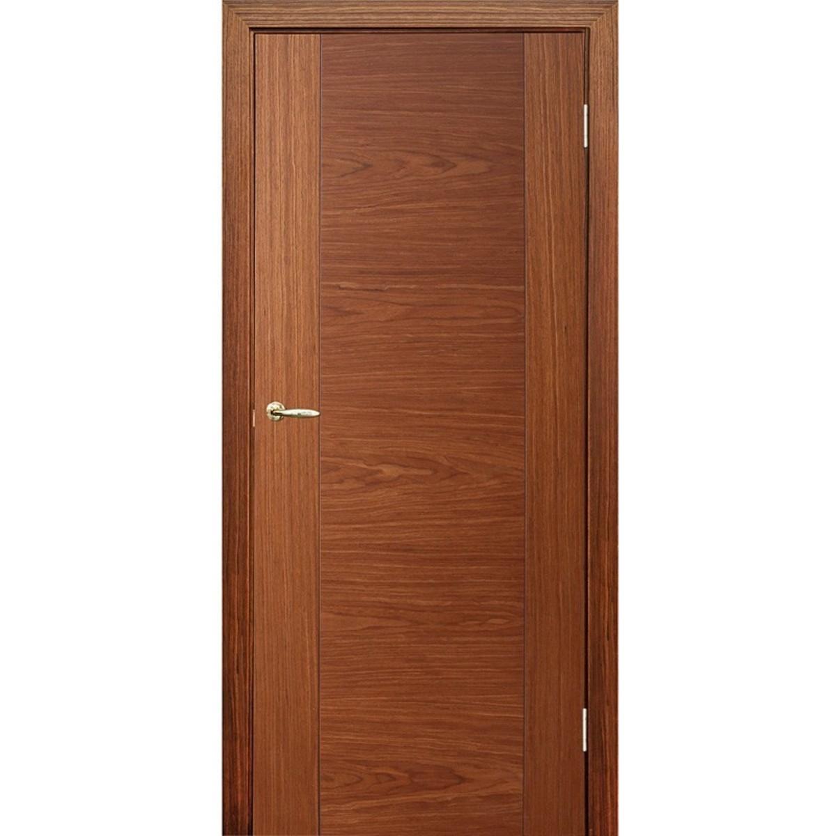 Дверь межкомнатная глухая Vario 60x200 см шпон цвет орех с фурнитурой