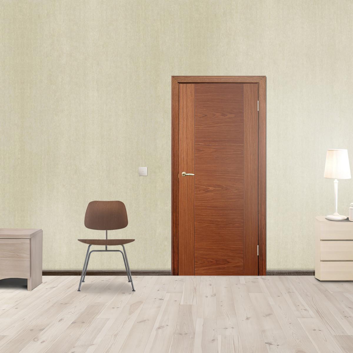 Дверь Межкомнатная Глухая Vario 60x200 Шпон Цвет Орех С Фурнитурой
