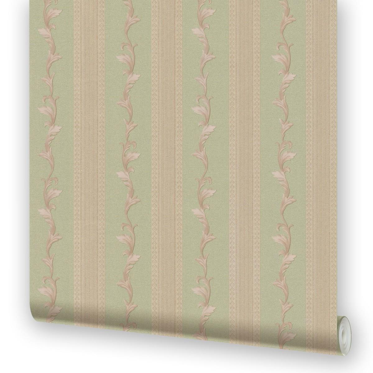 Обои бумажные 0.53х10.05 м полосы цвет зеленый МОФ 230912-5