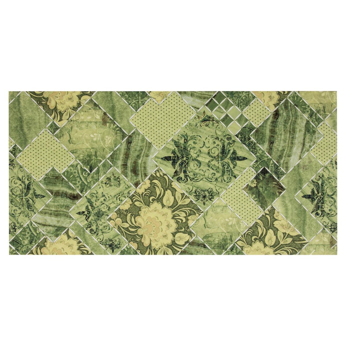 Декор «Симфония» 25x50 см цвет зеленый