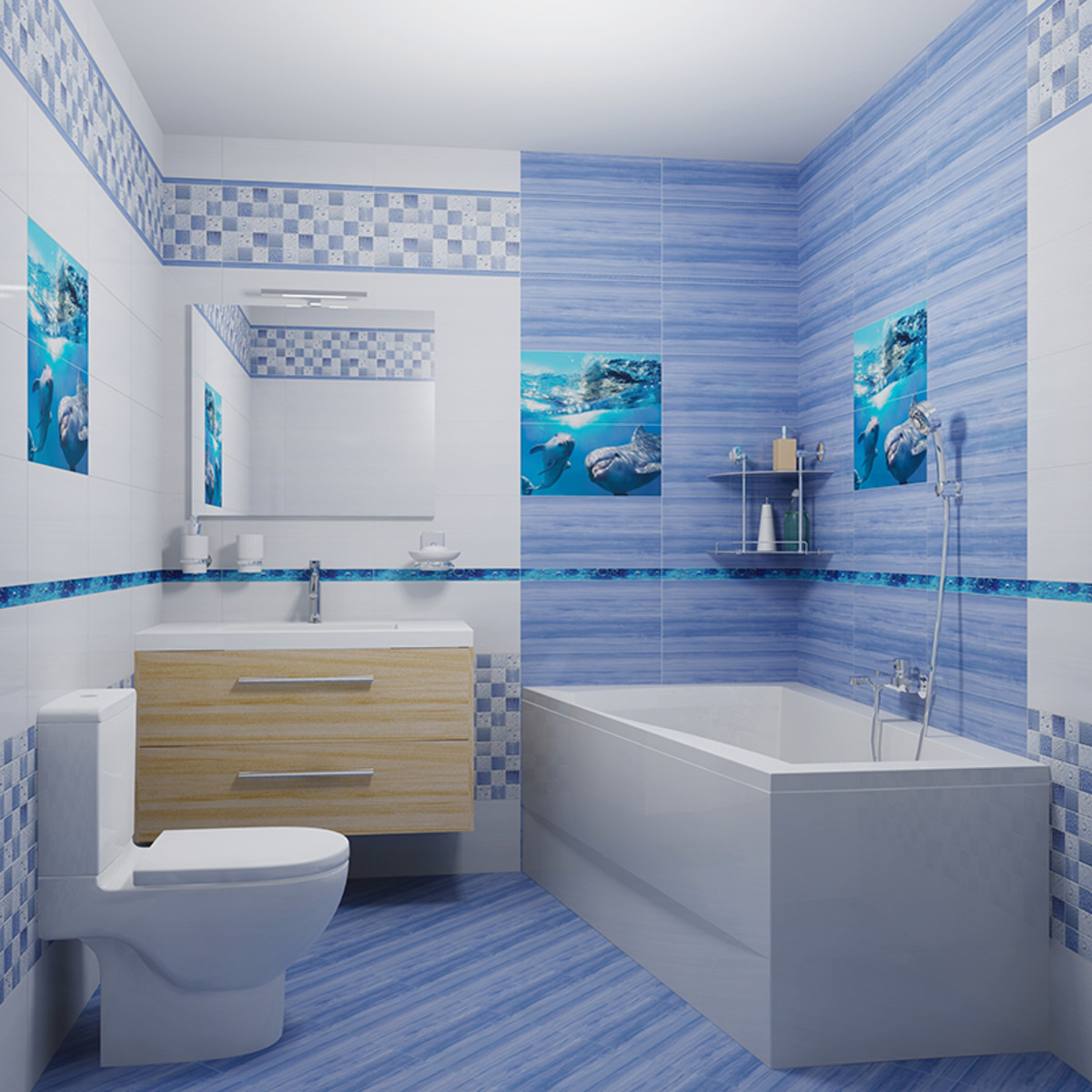 Плитка настенная Waterlife light ultramarine 25х50 см 1 м2 цвет белый