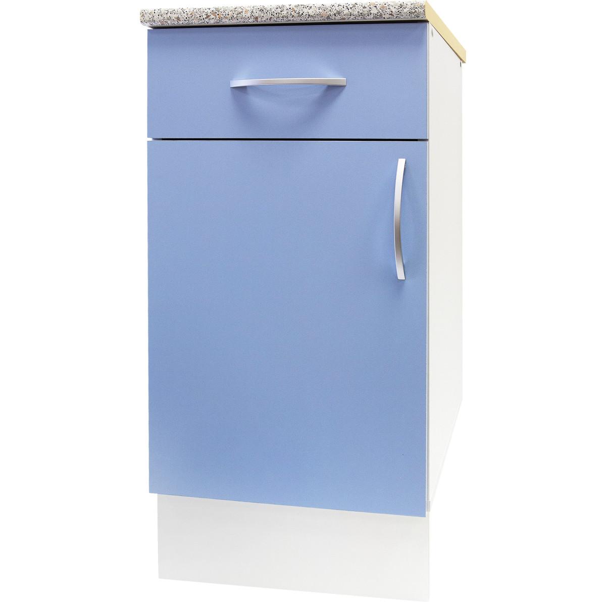 Шкаф напольный Лагуна Д с фасадом и одним ящиком 86х40 см цвет голубой
