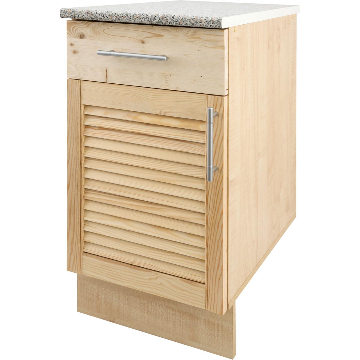 Шкаф напольный Сосна жалюзи Мо с фасадом и одним ящиком 85х40 см хвоя/ЛДСП цвет cосна