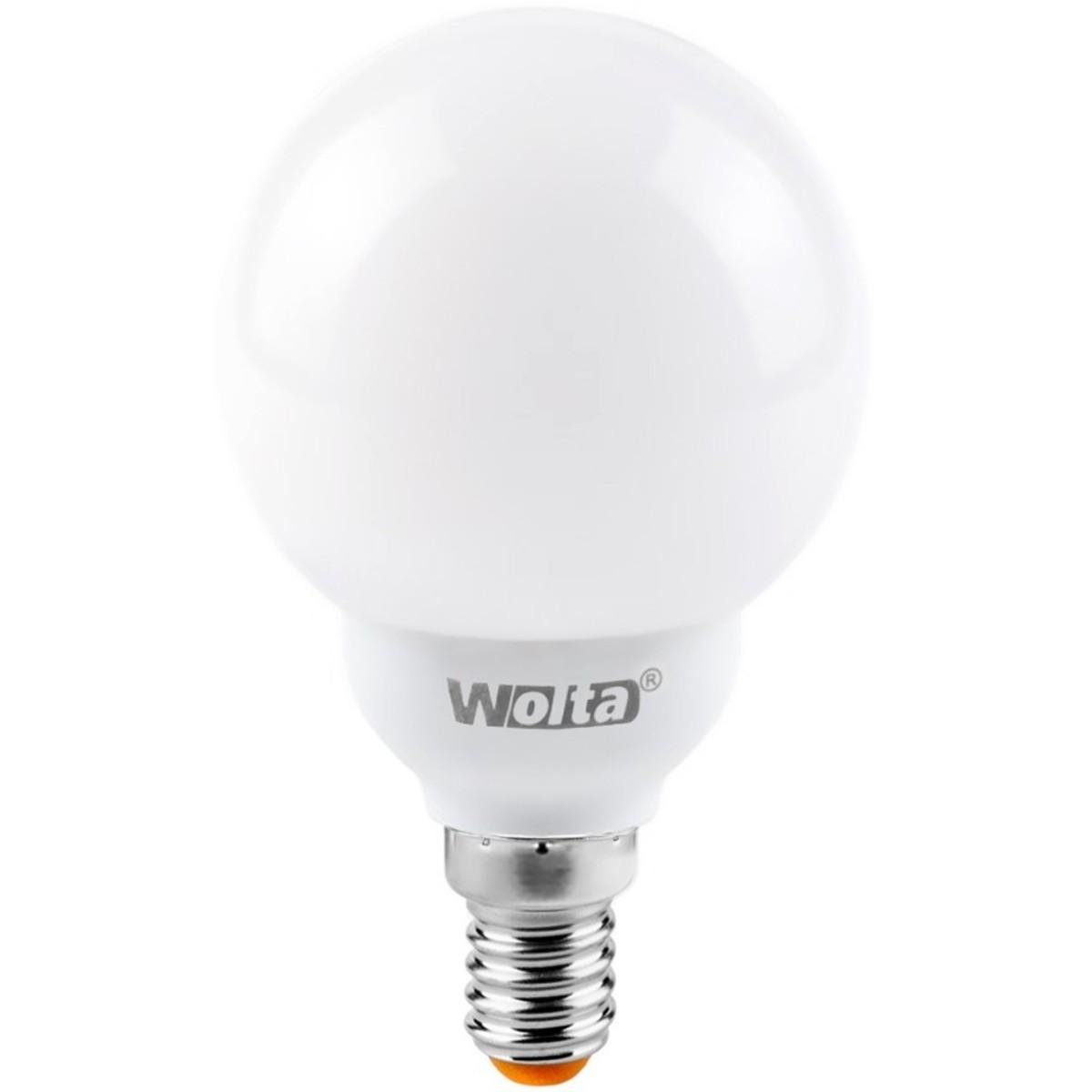 Лампа энергосберегающая Wolta шар E14 12 Вт свет холодный белый