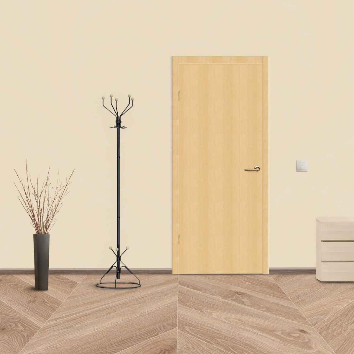 Дверь Межкомнатная Глухая Belleza 70x200 Ламинация Цвет Дуб Белый