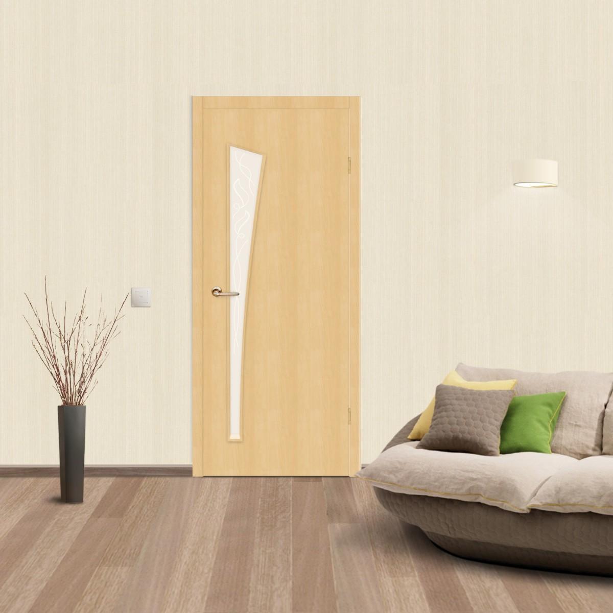 Дверь Межкомнатная Остеклённая Belleza 50x200 Ламинация Цвет Дуб Белый