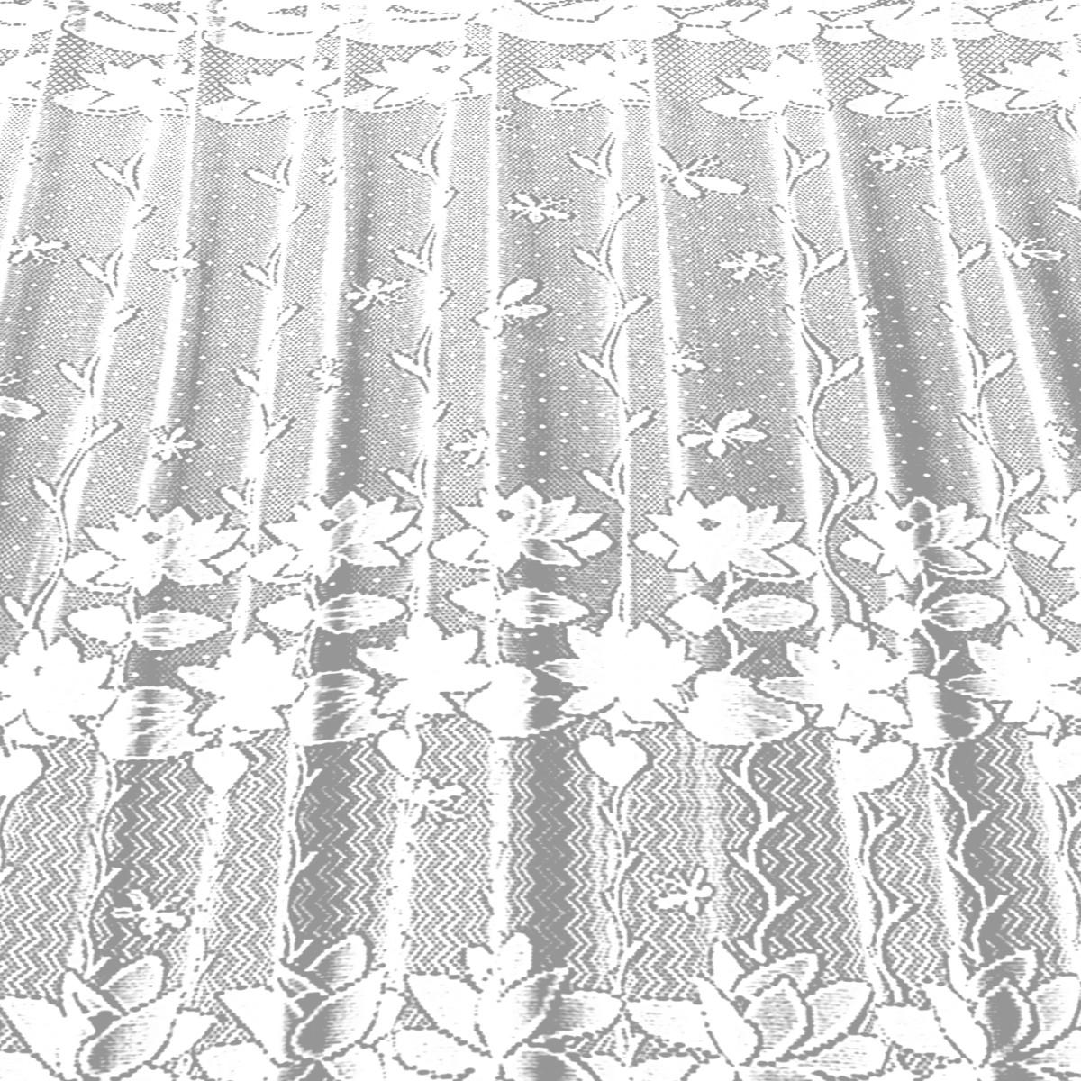 Занавеска Для Кухни На Ленте Лилии 200Х165 Жаккард Цвет Белый