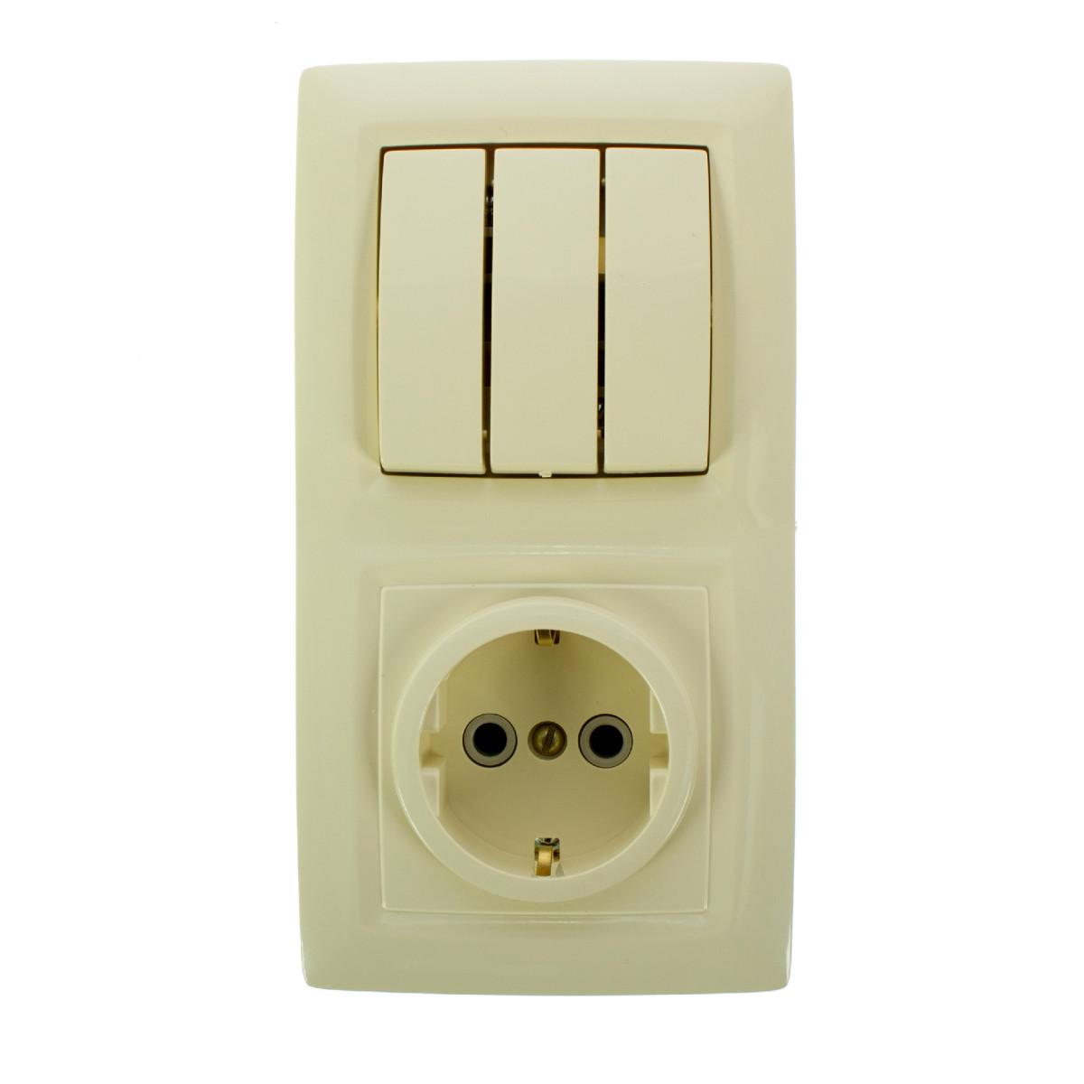 Блок выключатель с розеткой встраиваемый Reone 3 клавиши с заземлением цвет слоновая кость
