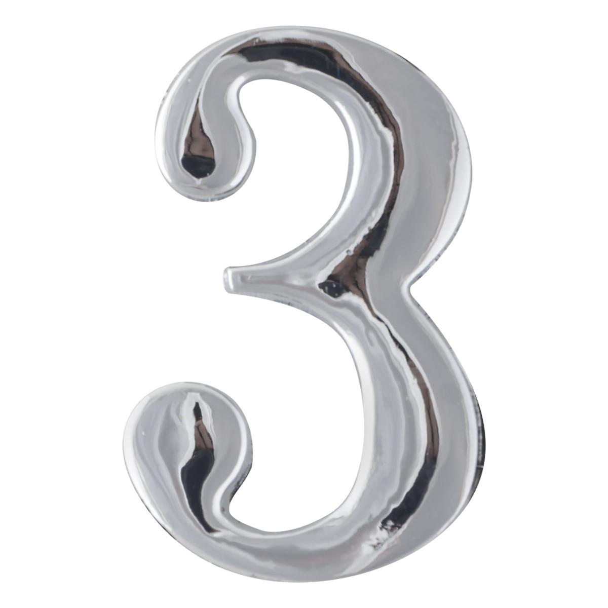 Цифра Дверная «3» Apecs Dn-01 Цвет Хром