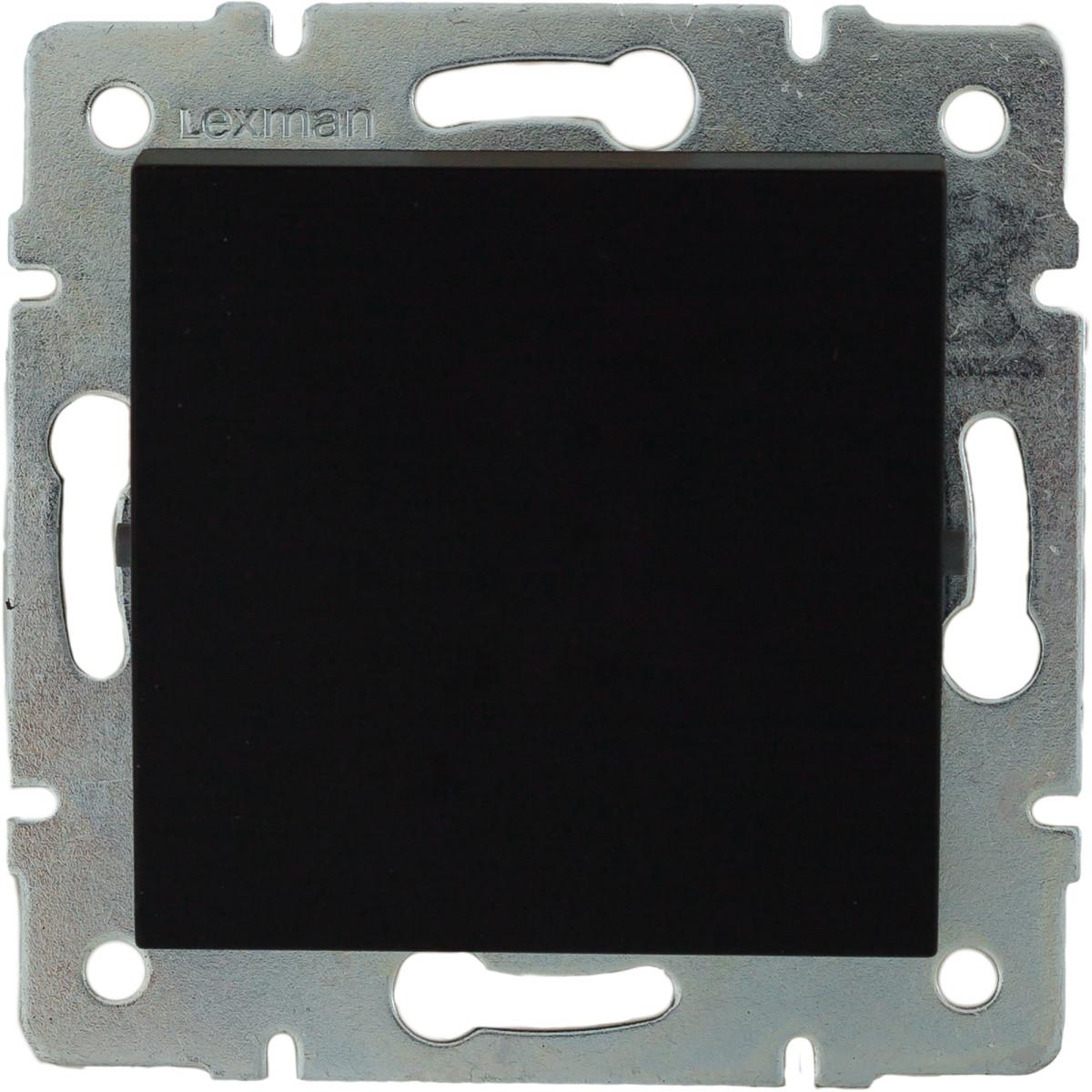 Выключатель встраиваемый Lexman Виктория 1 клавиша цвет черный бархат матовый