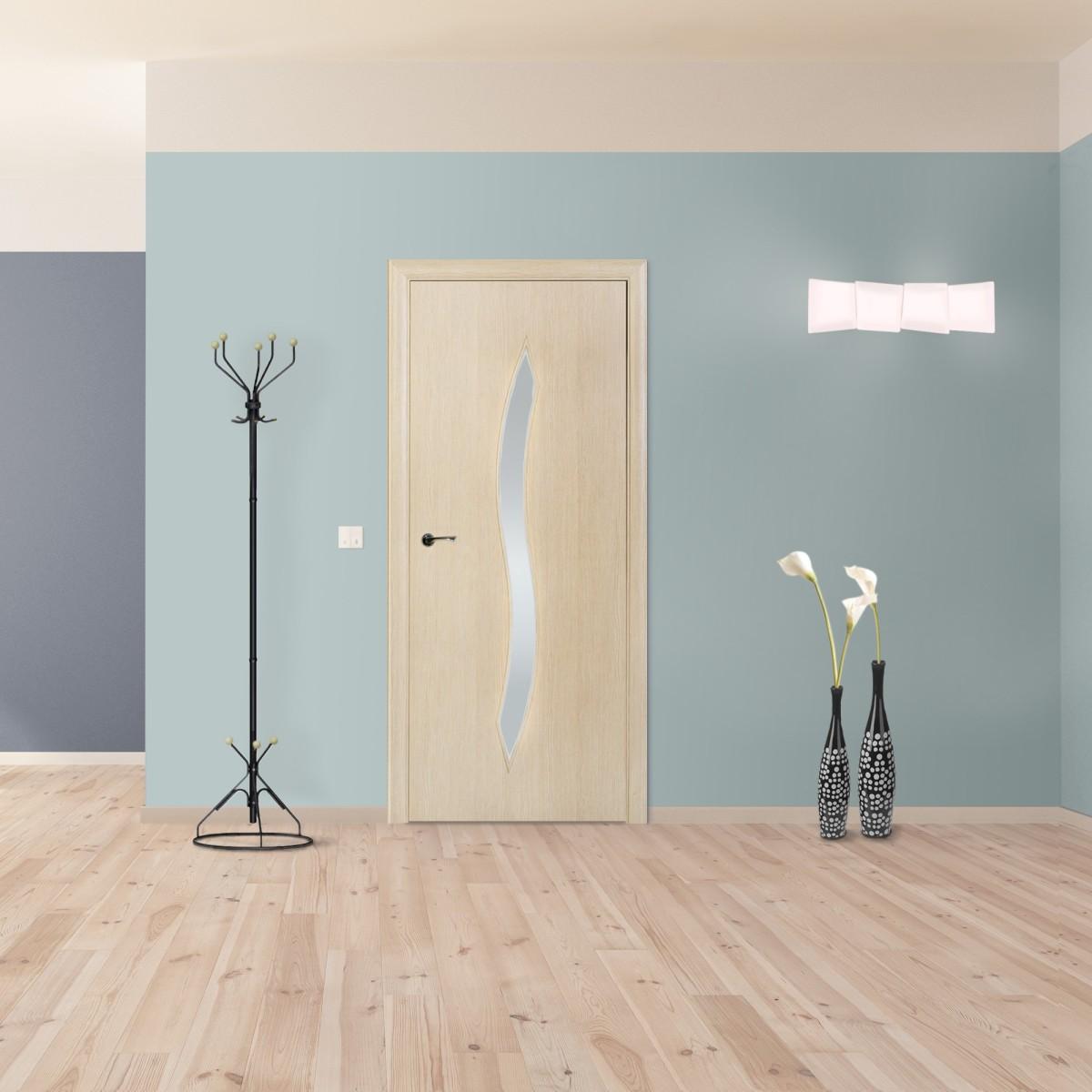 Дверь Межкомнатная Остеклённая Aura 55x200 Ламинация Цвет Ясень 3d