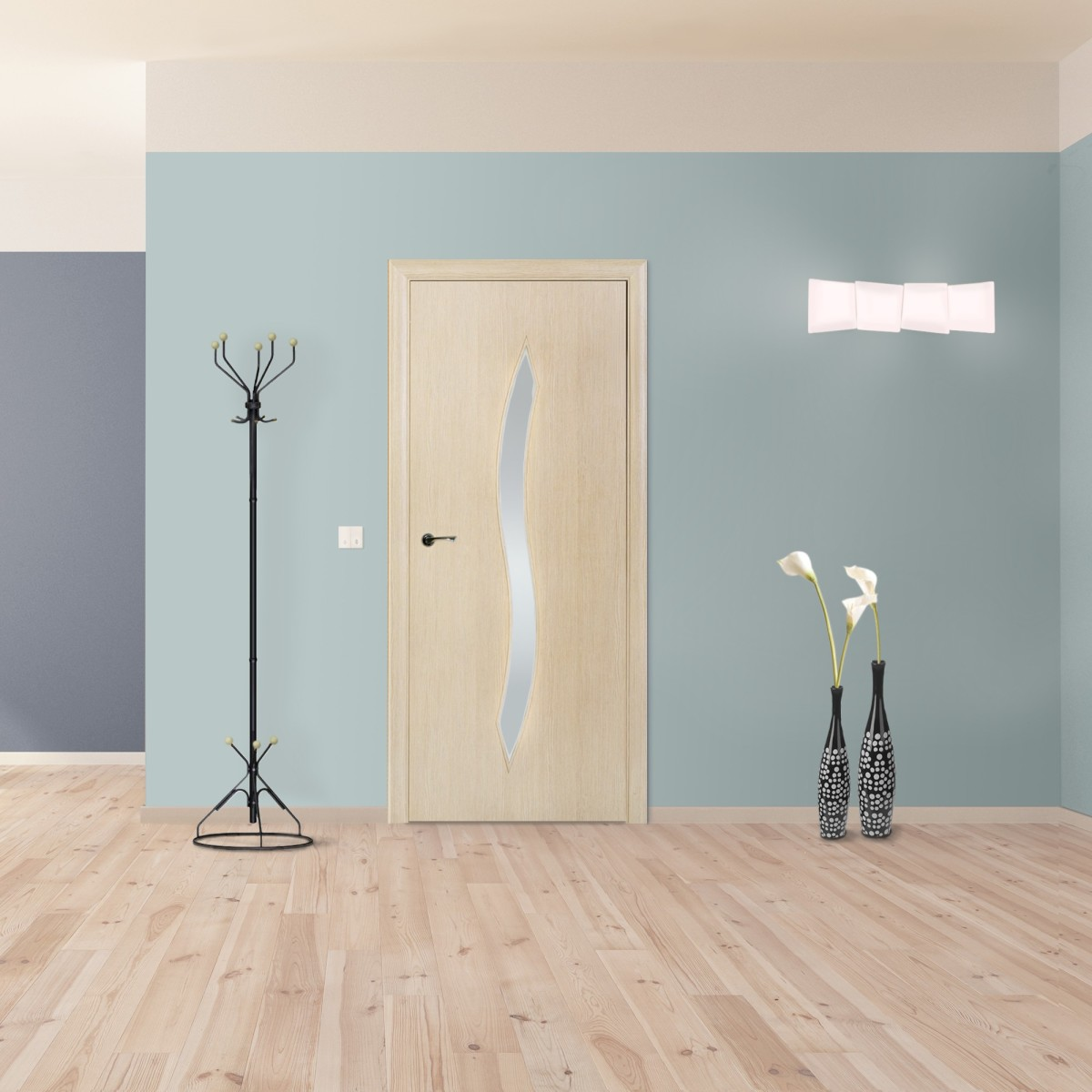 Дверь Межкомнатная Остеклённая Aura 80x200 Ламинация Цвет Ясень 3d