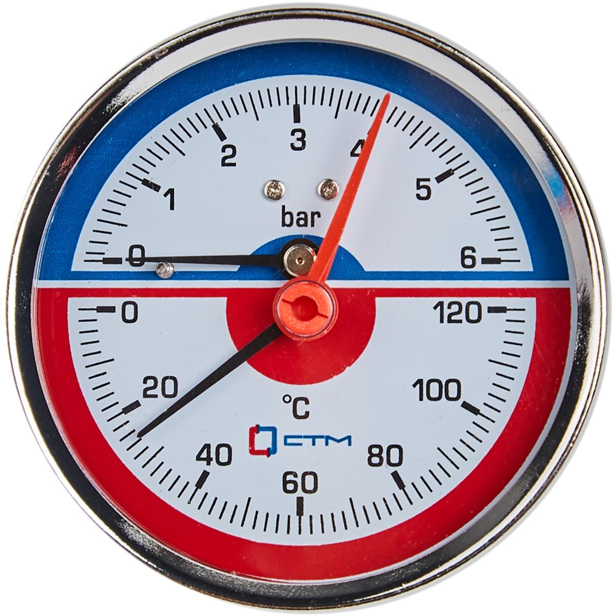 Термоманометр горизонтальный 1/2 120 град 6 бар