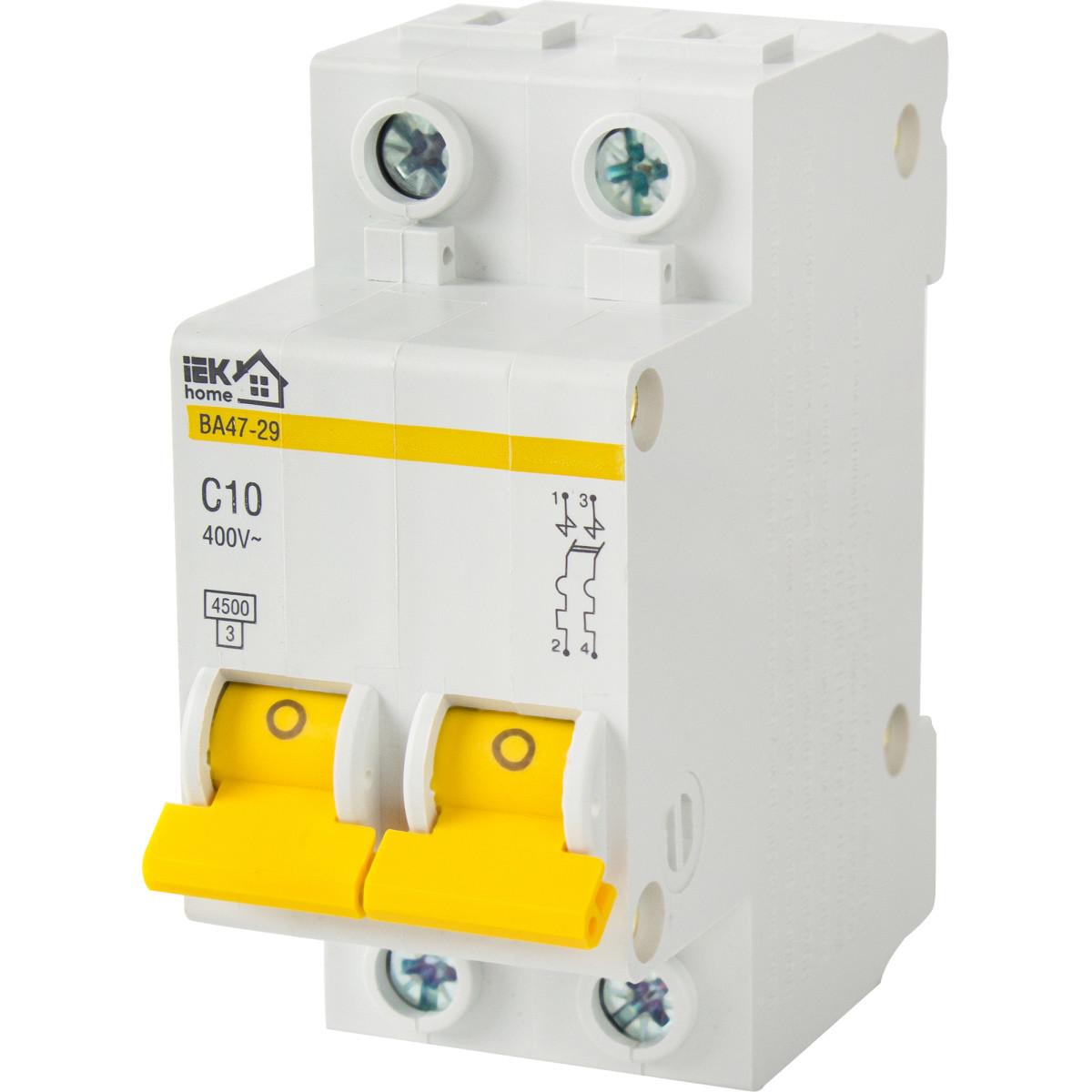 Выключатель автоматический IEK Home В А47-29 2 полюса 10 А