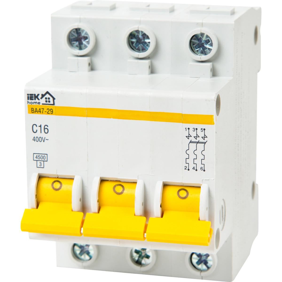 Выключатель автоматический IEK Home В А47-29 3 полюса 16 А