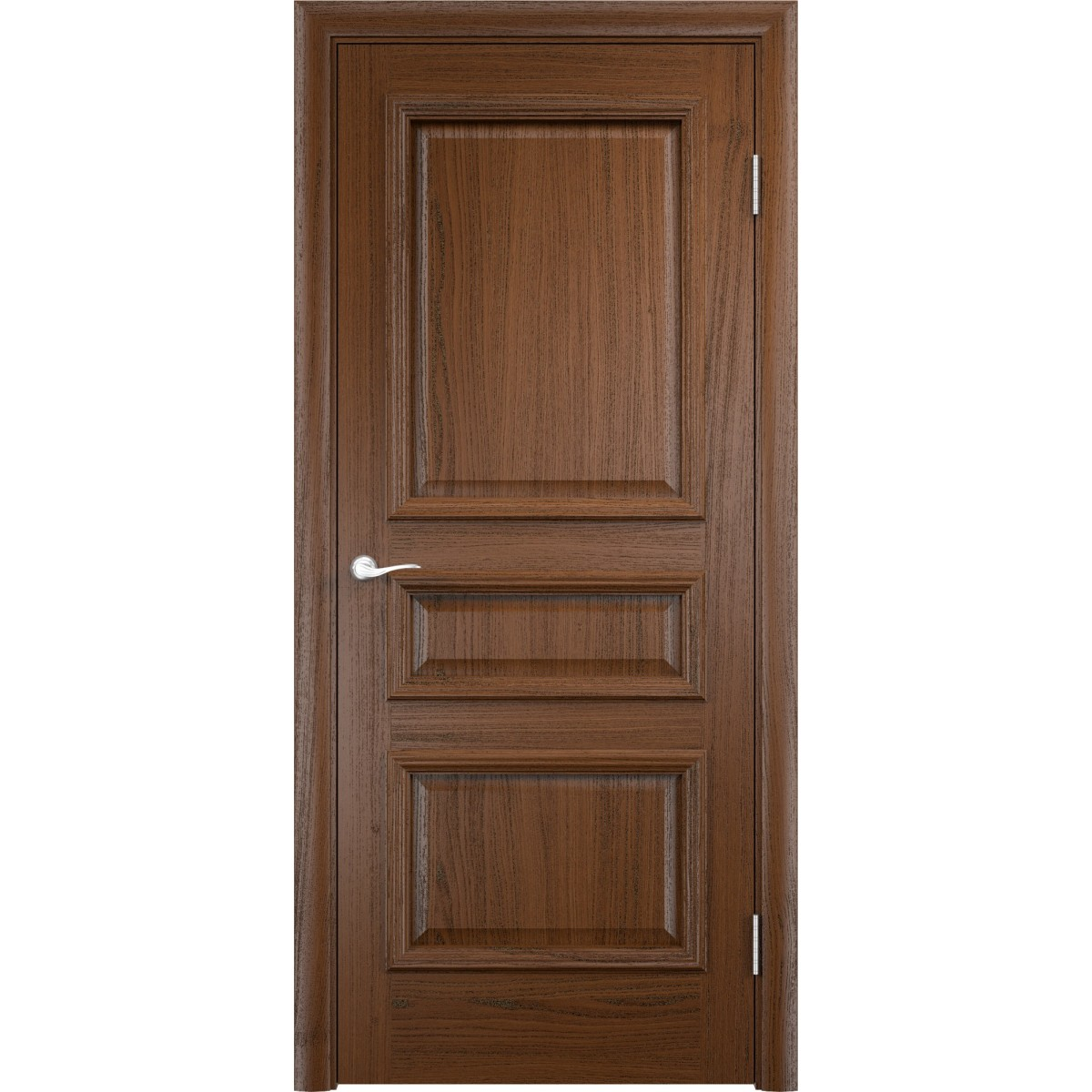 Дверь межкомнатная глухая Мадрид 60x200 см шпон цвет дуб тёмный с фурнитурой