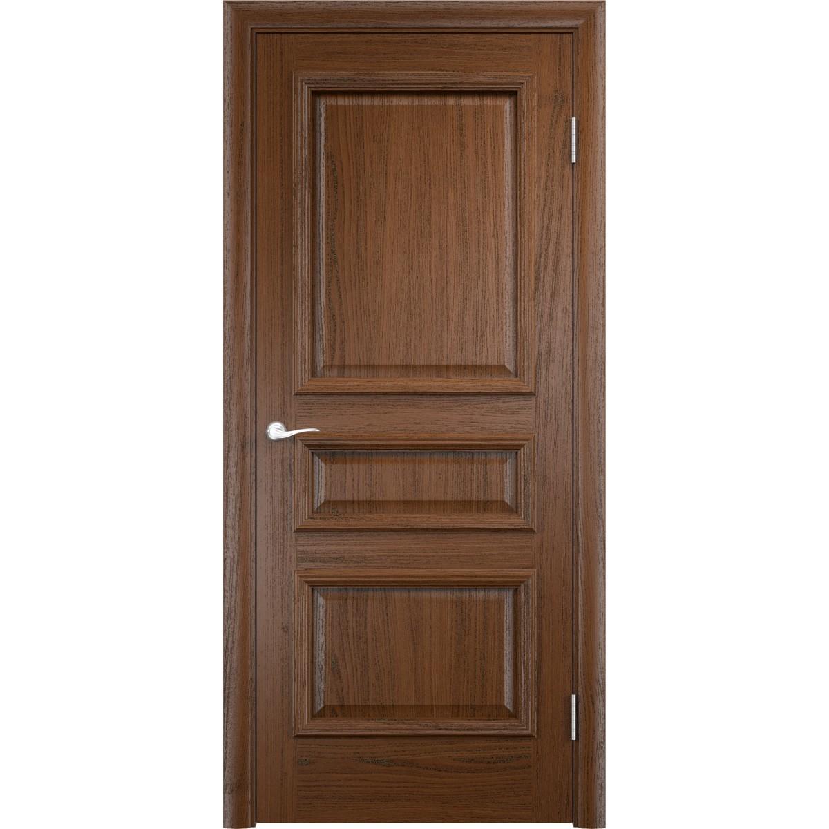 Дверь межкомнатная глухая Мадрид 80x200 см шпон цвет дуб тёмный с фурнитурой