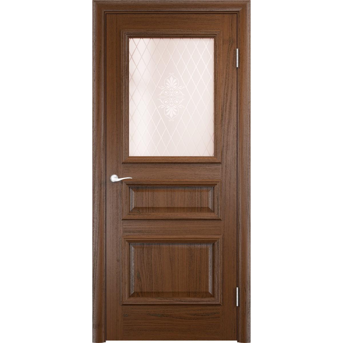 Дверь Межкомнатная Остеклённая Шпон 80x200 Дум Темный С Фурнитурой
