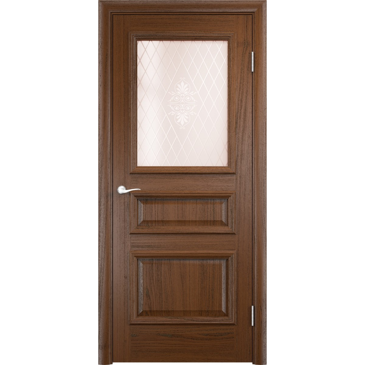 Дверь Межкомнатная Остекленная Мадрид 90Х200 Шпон Цвет Дуб Тёмный