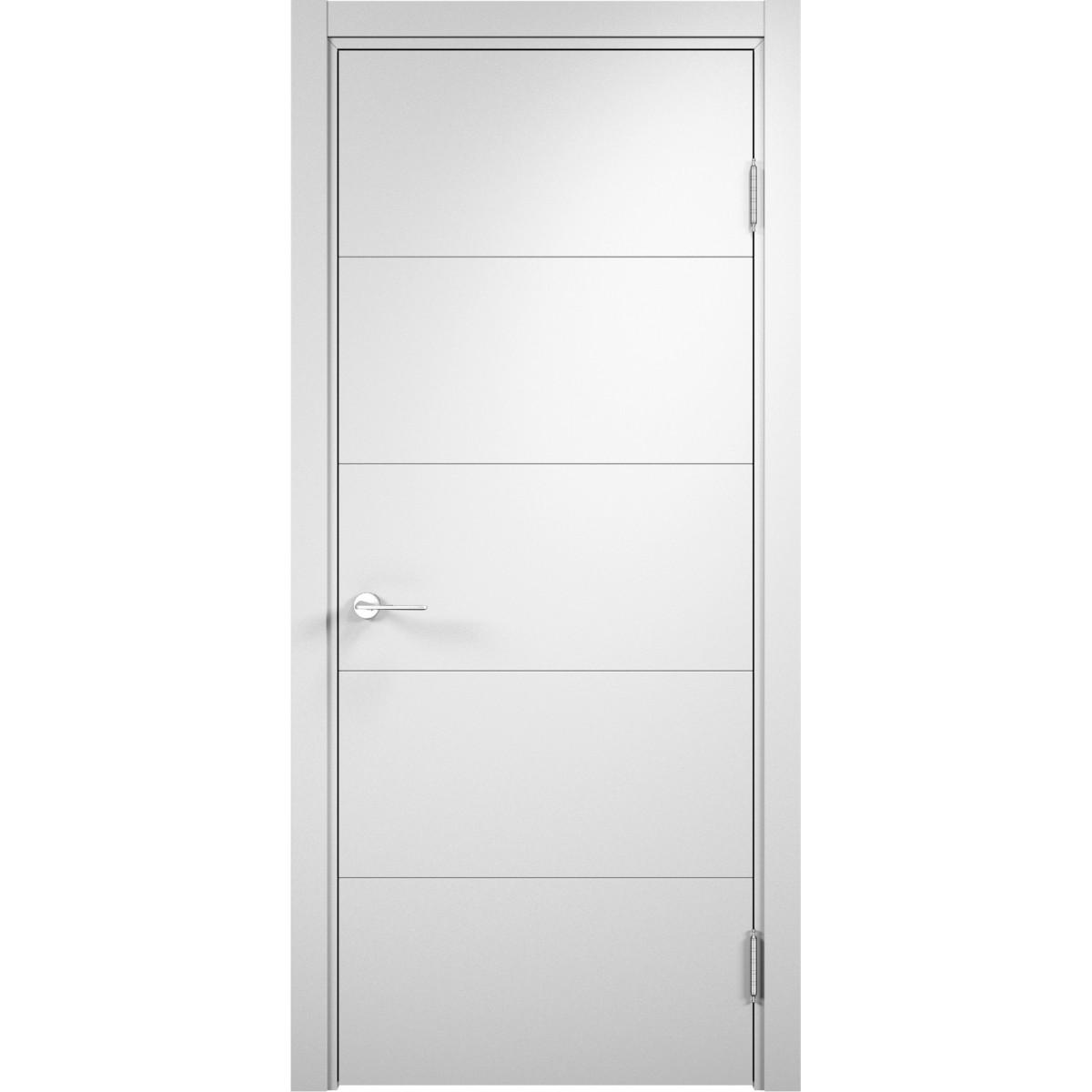 Дверь межкомнатная глухая Турин 80x200 см ПВХ цвет белый