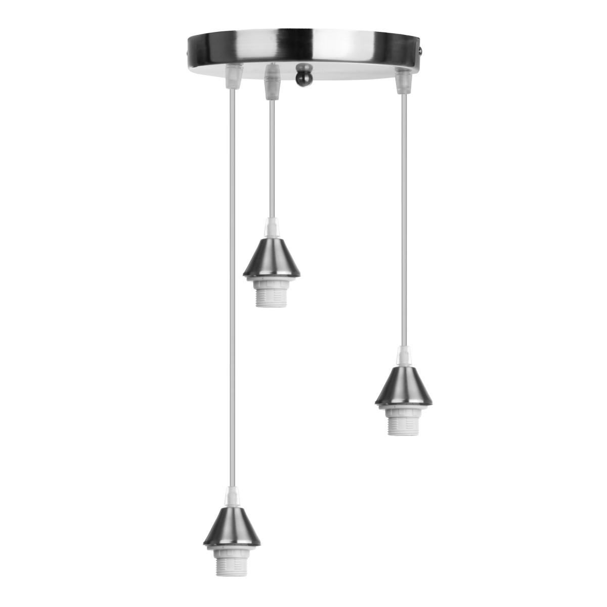 Подвесной светильник круглый 3xE27х75Вт металл никель