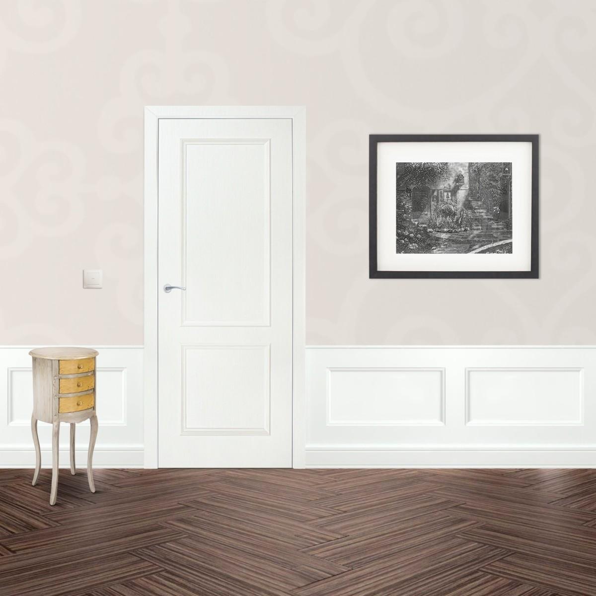 Дверь Межкомнатная Глухая Altro 80x200 Ламинация Цвет Бьянко 3d