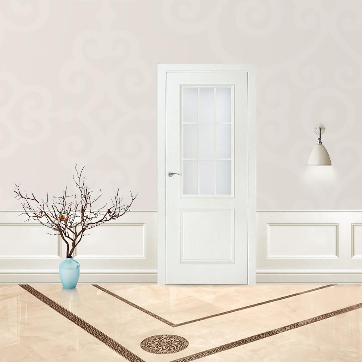 Дверь Межкомнатная Остеклённая Altro 80x200 Ламинация Цвет Бьянко 3d