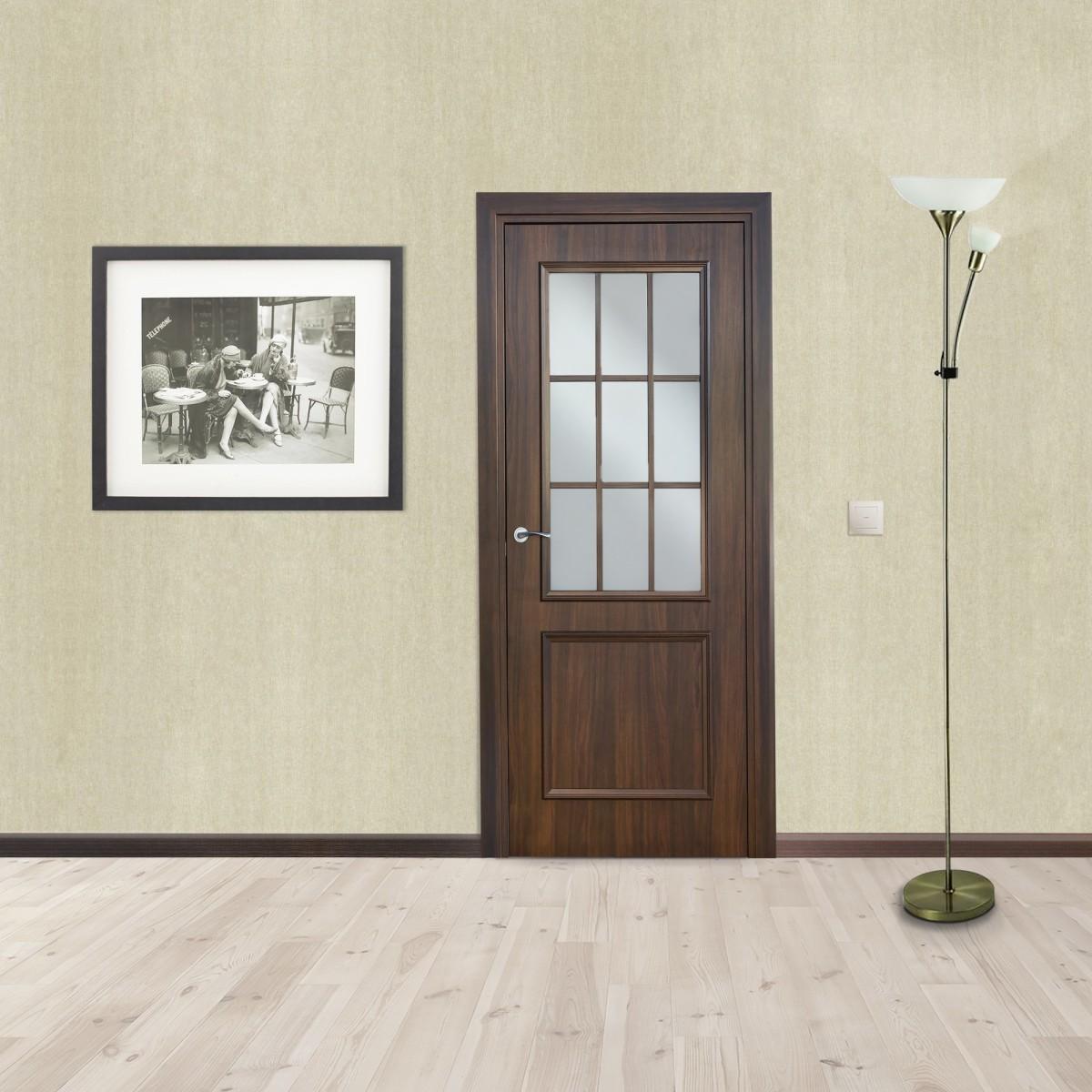 Дверь Межкомнатная Остеклённая Altro 80x200 Ламинация Цвет Орех Марроне