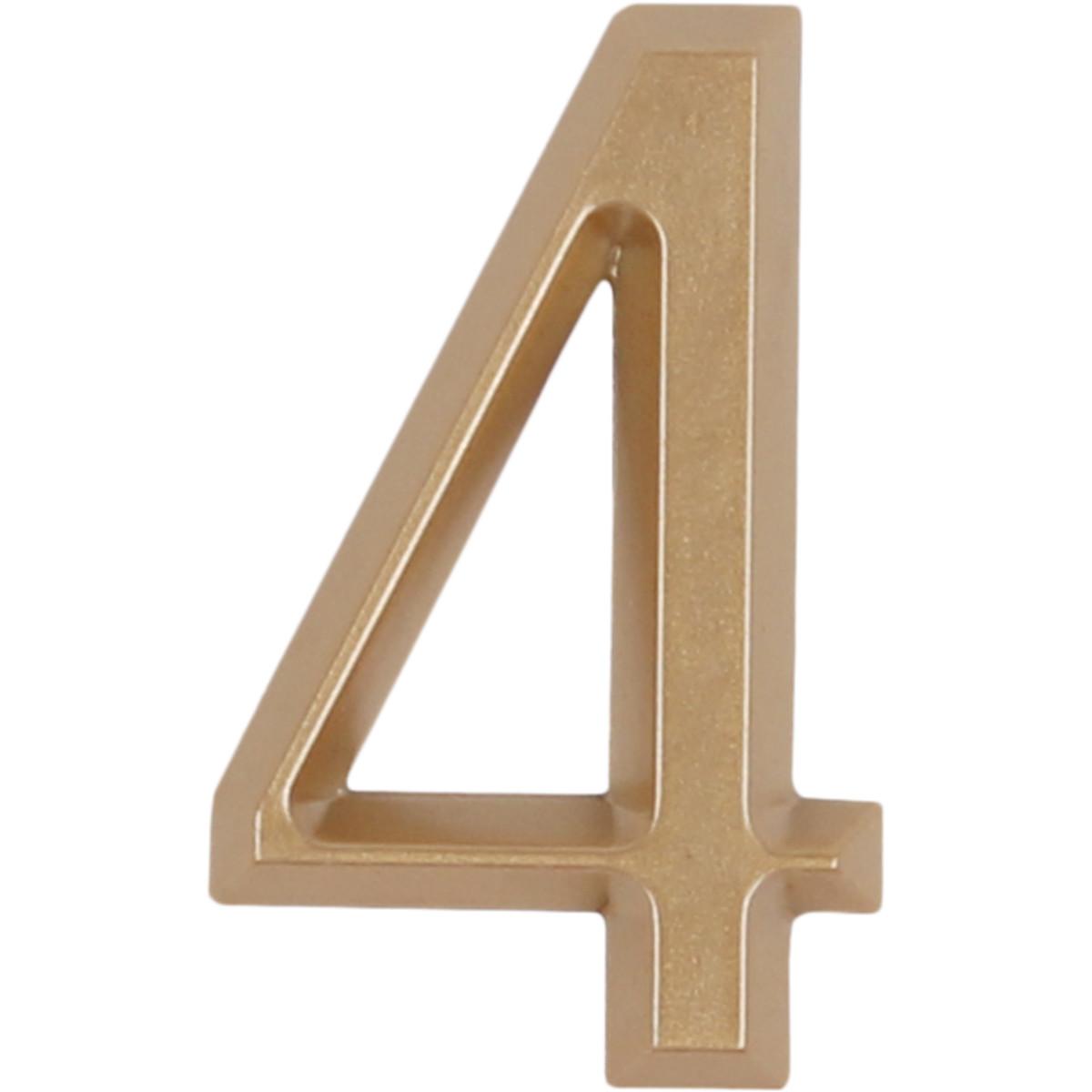 Цифра «4» Larvij самоклеящаяся 60х37 мм пластик цвет матовое золото