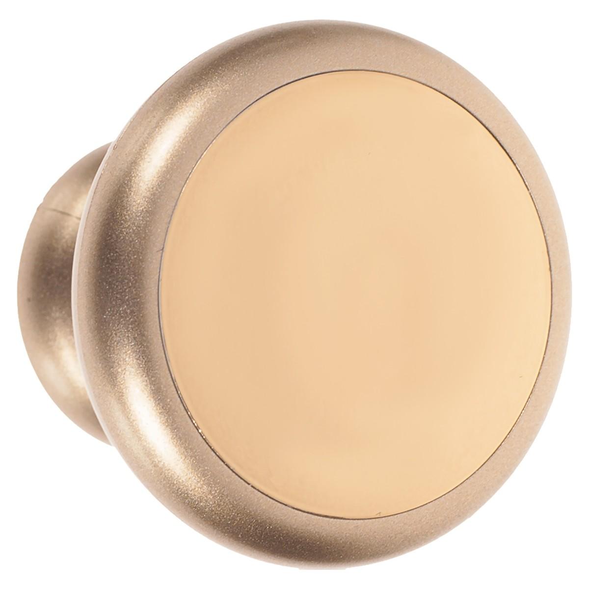 Ручка-кнопка 53 мм цвет матовое золото/золото глянцевое