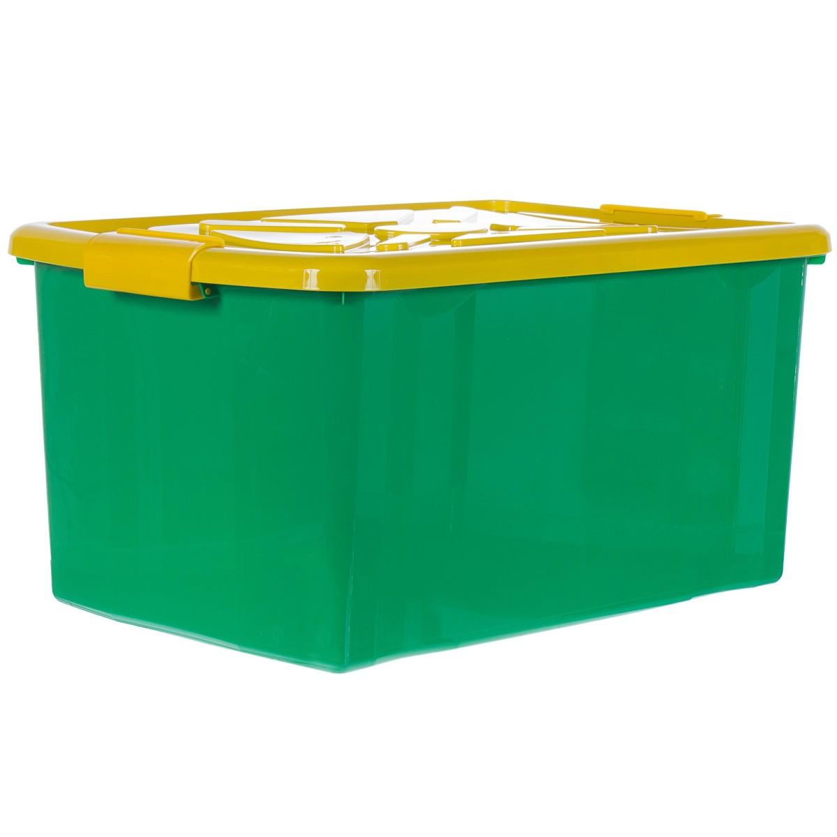 Ящик для хранения с крышкой 57x38x20 см цвет мультиколор