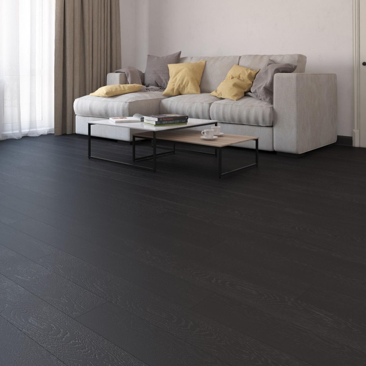 Ламинат Дуб чёрный угольный 32 класс толщина 8 мм с фаской 1.777 м²