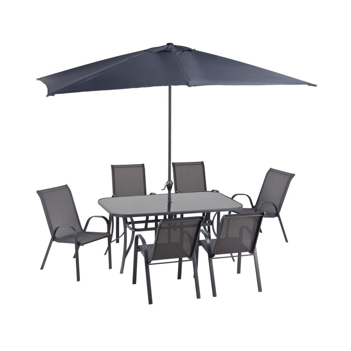 Набор садовой мебели стол-зонт-6 стульев