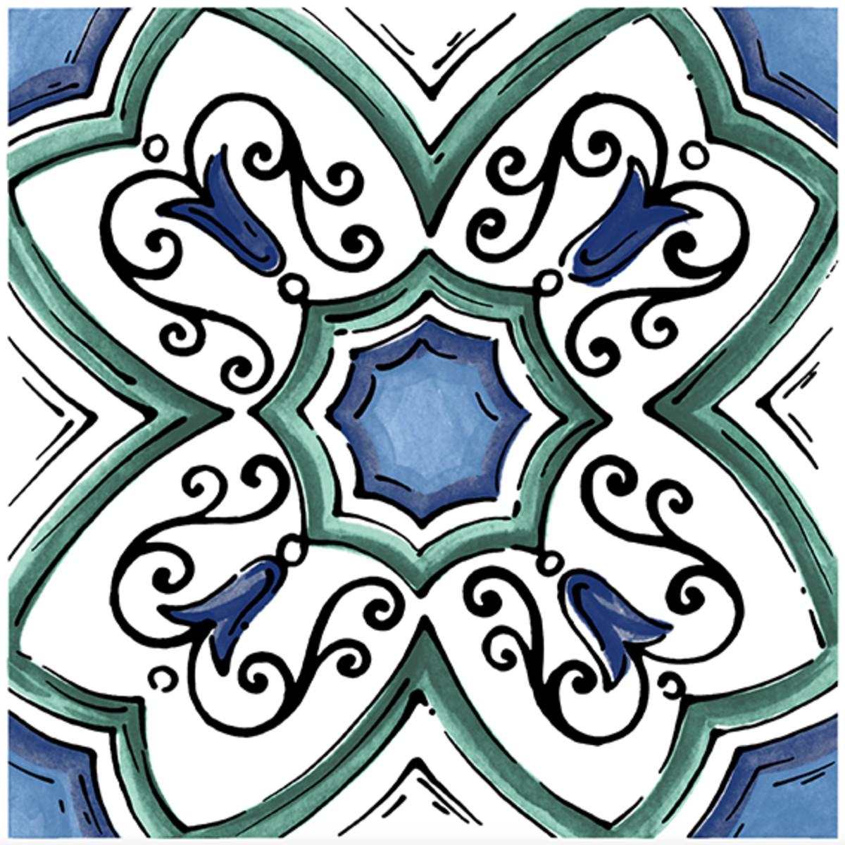Декор Kerama Marazzi «Капри Майолика» 20х20 см цвет синий/зеленый
