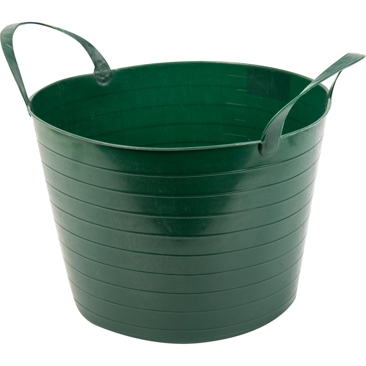 Ведро с ручками гибкое зеленое 14 л мягкий пластик