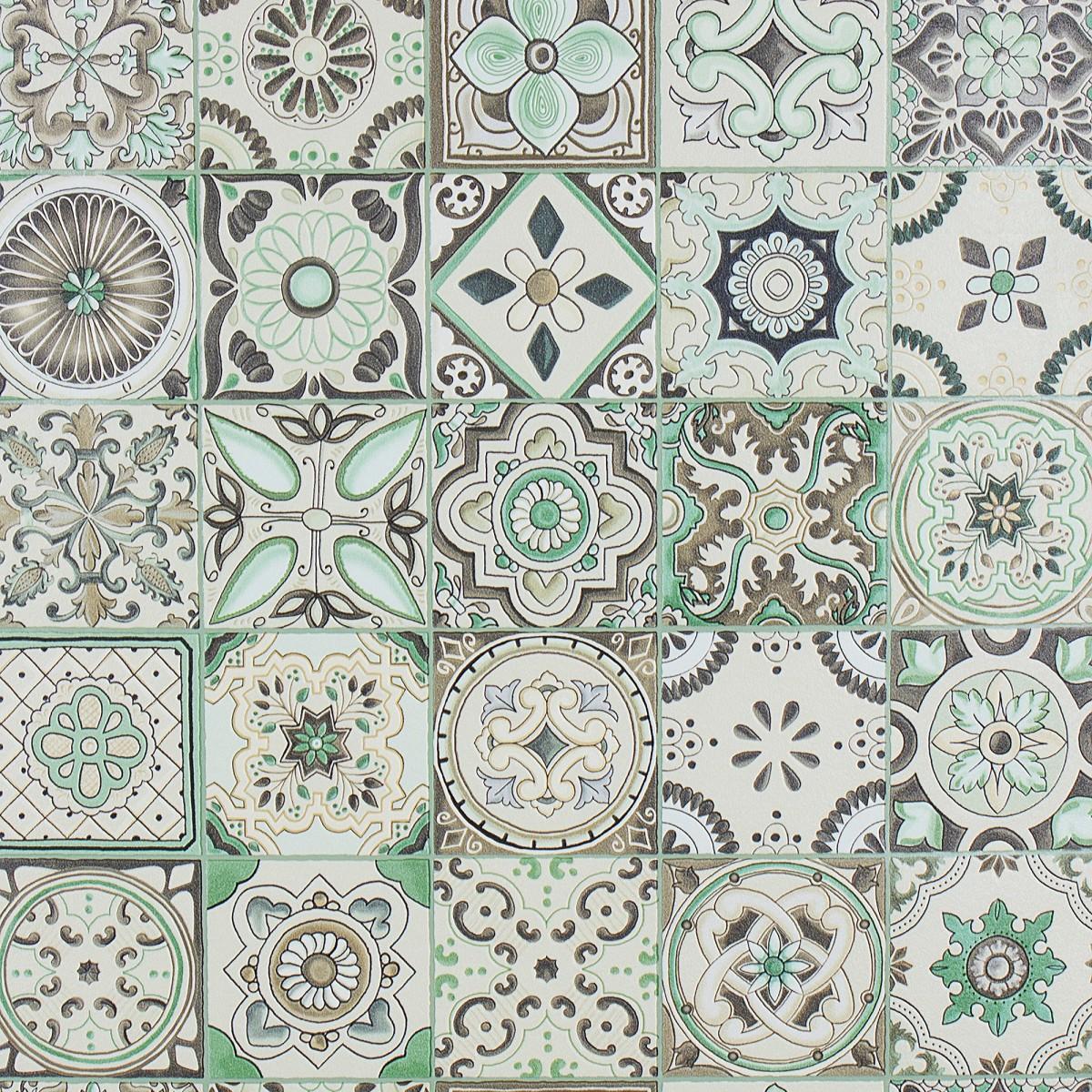 Обои на бумажной основе Плитка 0.53х10 м цвет зеленый At98710-04