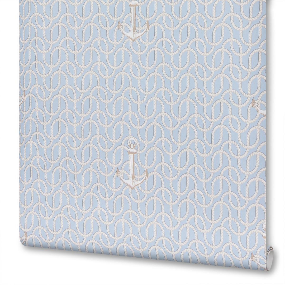 Обои флизелиновые для детской Якорь 0.53х10.05 м цвет голубой