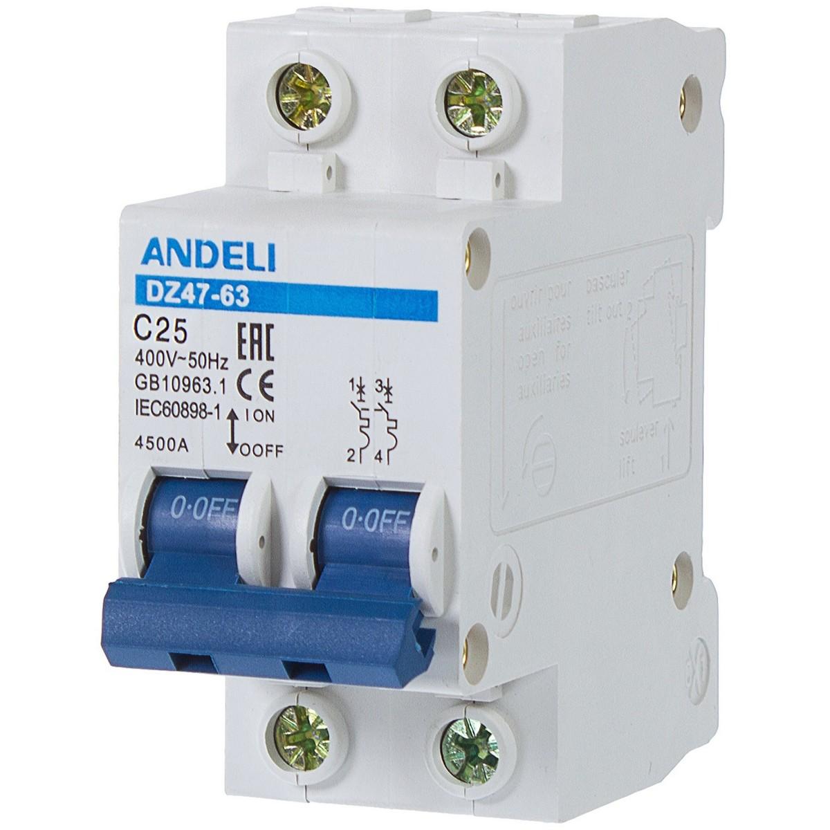 Выключатель автоматический Andeli DZ47-63 2 полюса 25 А 4.5 кА характеристика C