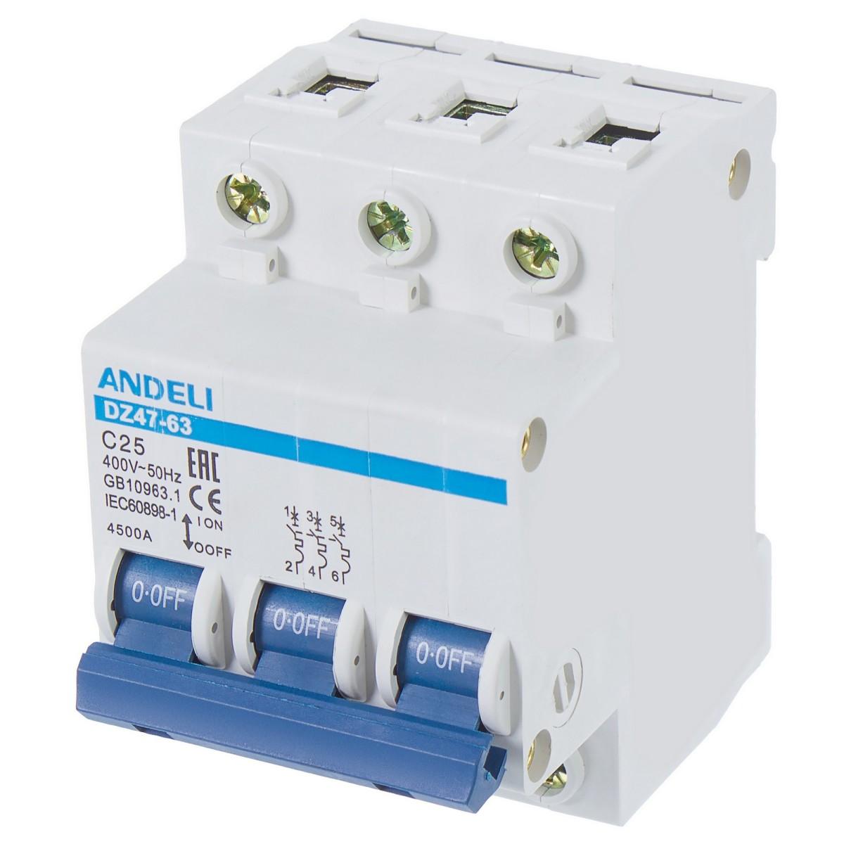 Выключатель автоматический Andeli DZ47-63 3 полюса 25 А 4.5 кА характеристика C