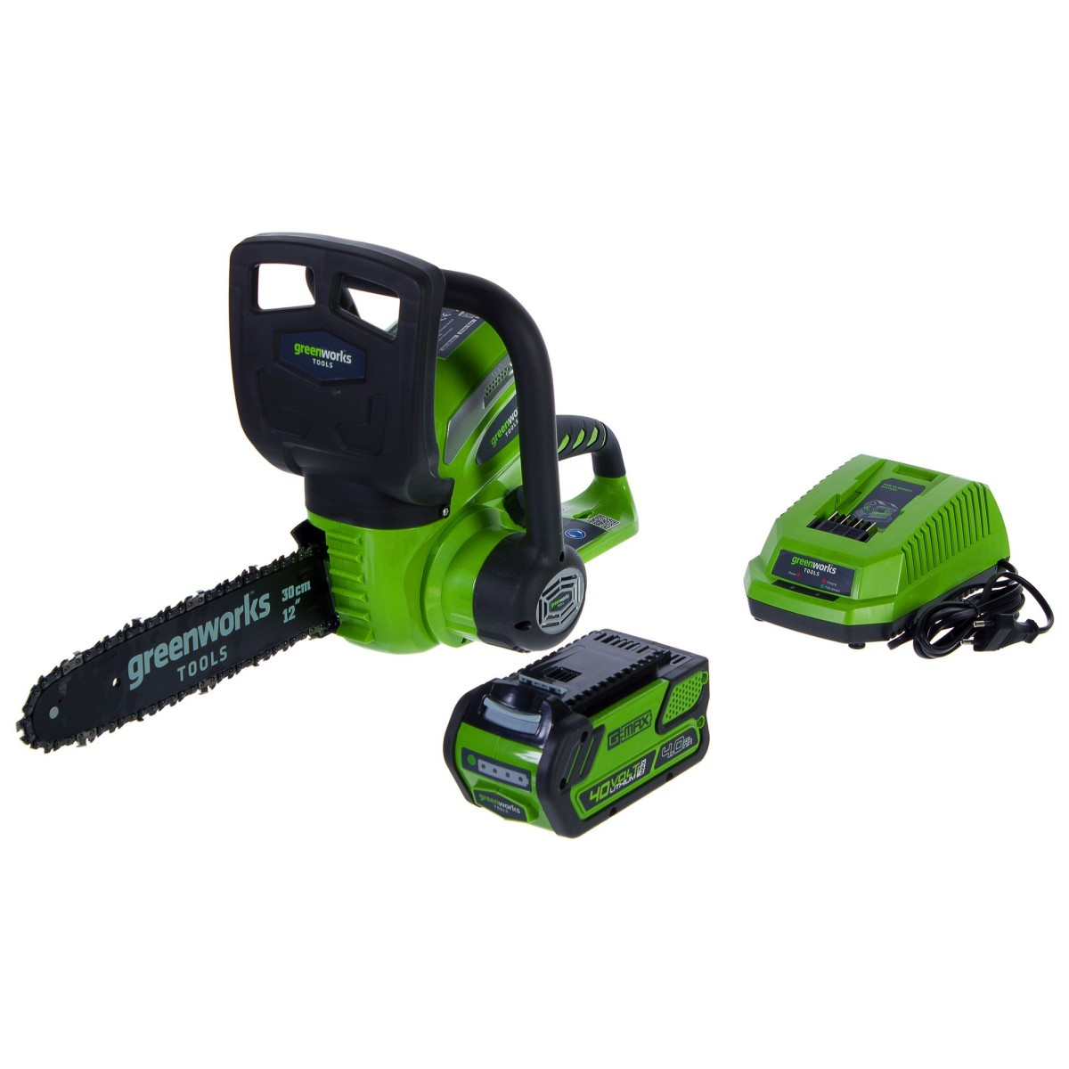 Пила цепная аккумуляторная GreenWorks 40 В шина 30 см зарядка и аккумулятор в комплекте