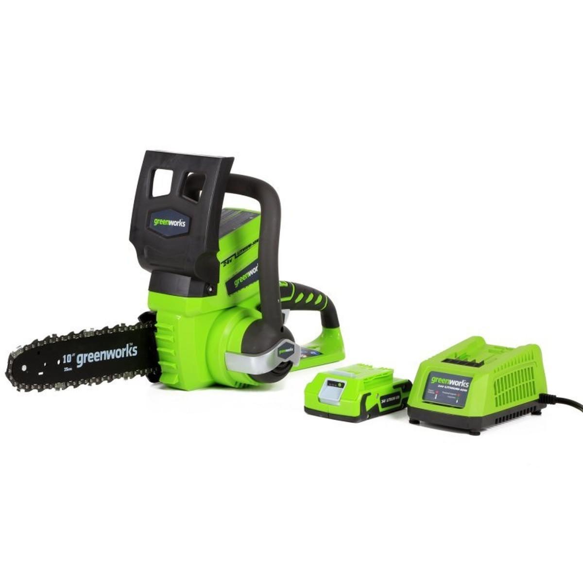 Пила цепная аккумуляторная Greenworks 24 В АКБ и ЗУ в комплекте