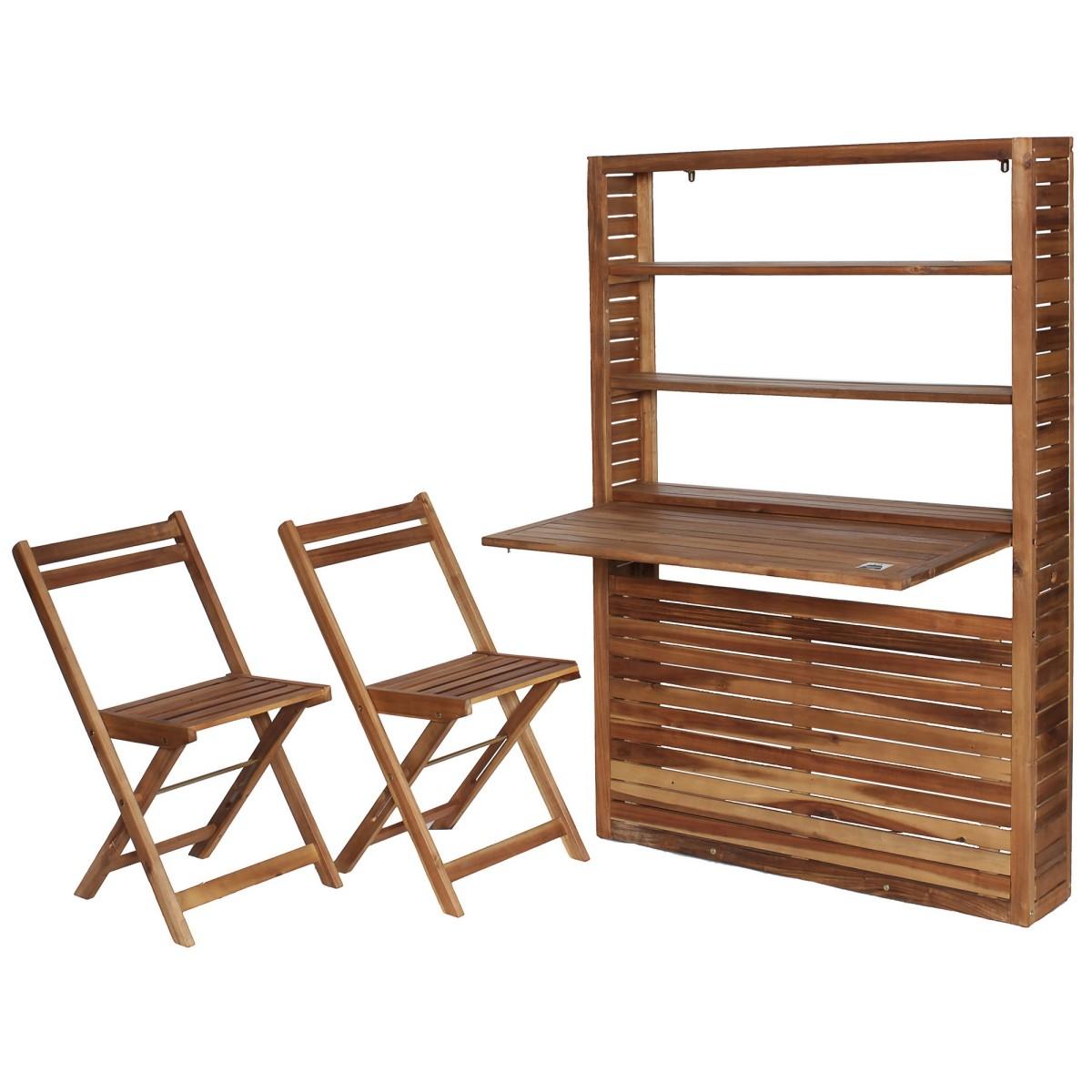 Набор садовой мебели Naterial Porto Compact Plus складной акация стеллаж с откидной столешницей и 2 стула