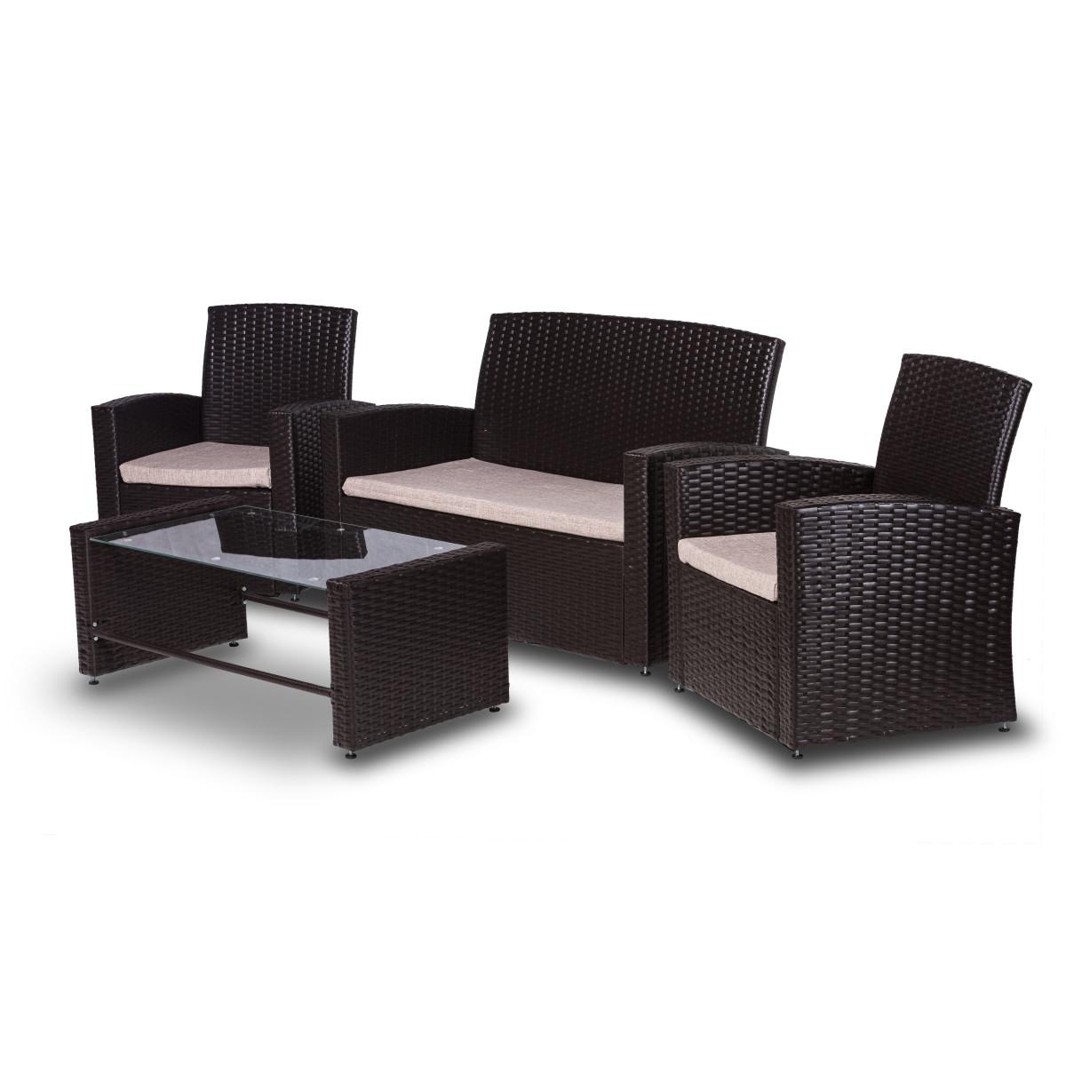 Набор садовой мебели Марокко полиротанг коричневый стол диван и 2 кресла