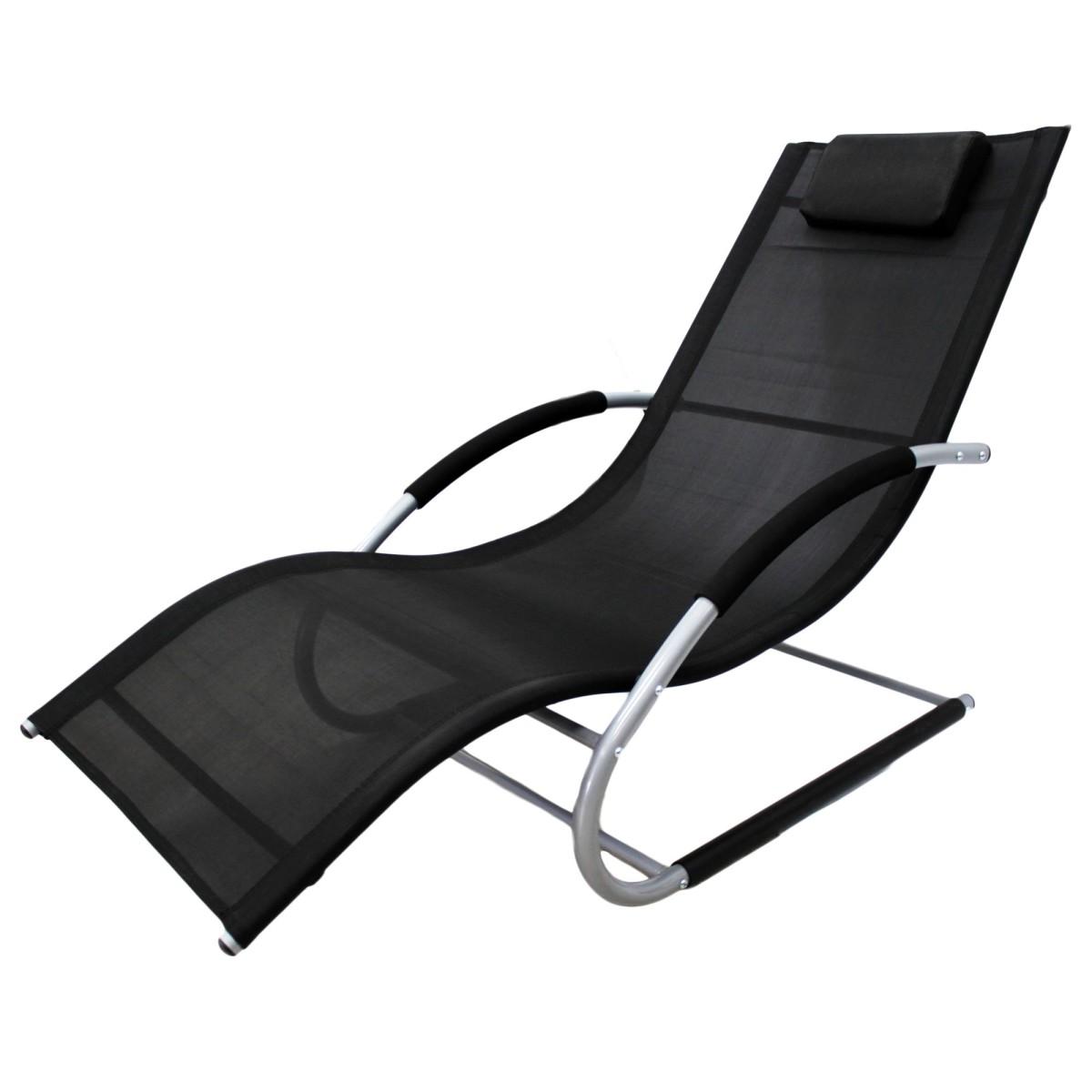 Шезлонг-качалка сталь/текстиль черный