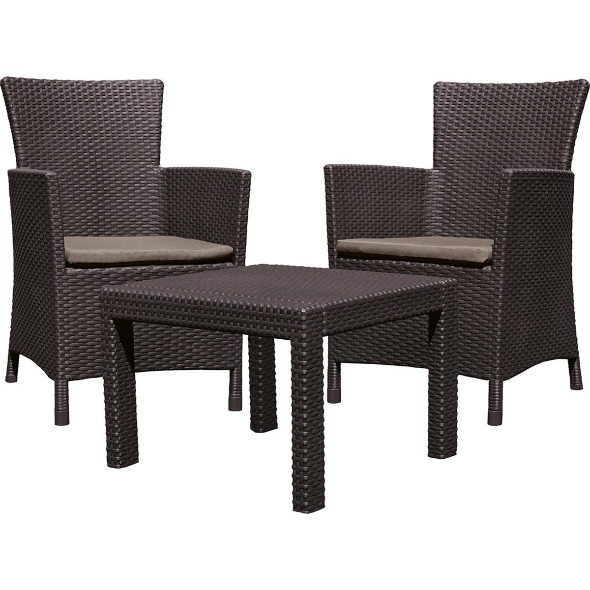 Набор садовой мебели Keter Rosario полиротанг коричневый стол и 2 кресла