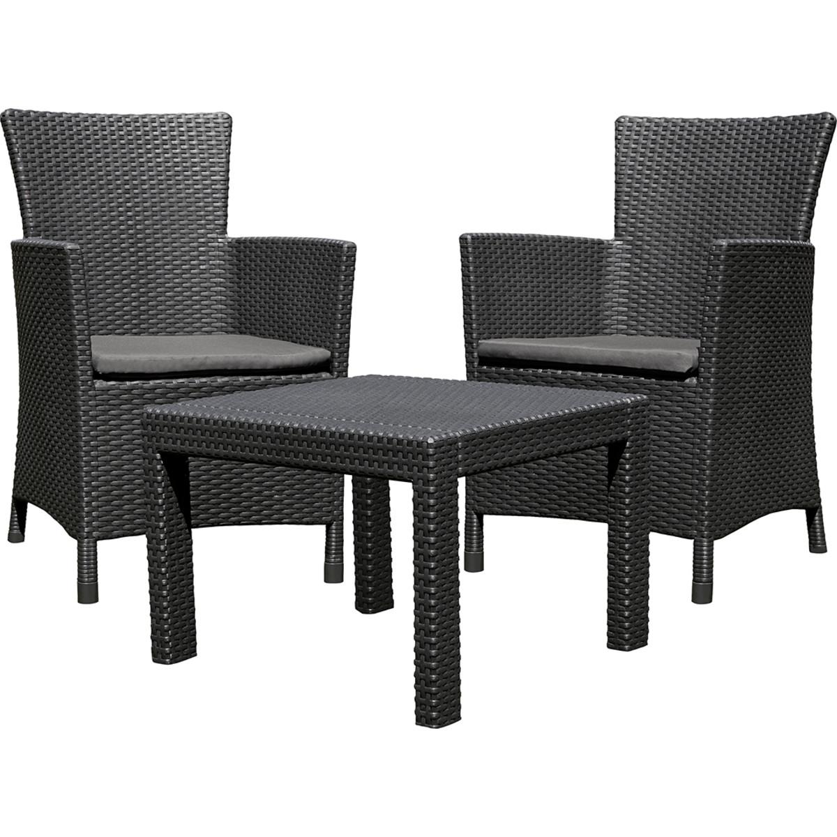 Набор садовой мебели Keter Rosario полиротанг графит стол и 2 кресла