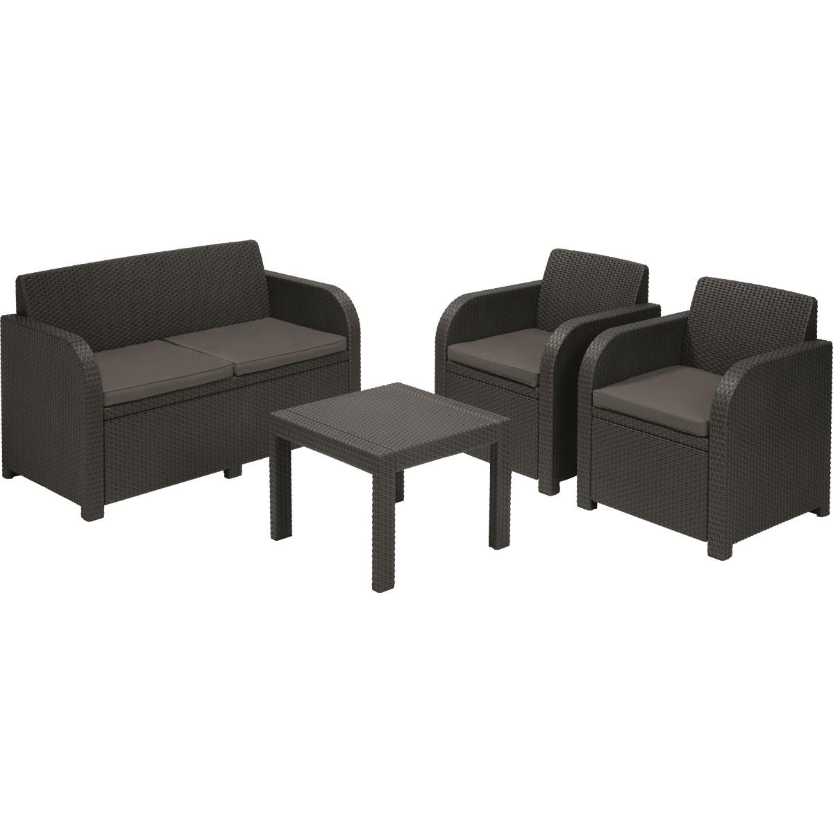 Набор садовой мебели Novara полиротанг коричневый стол диван и 2 кресла