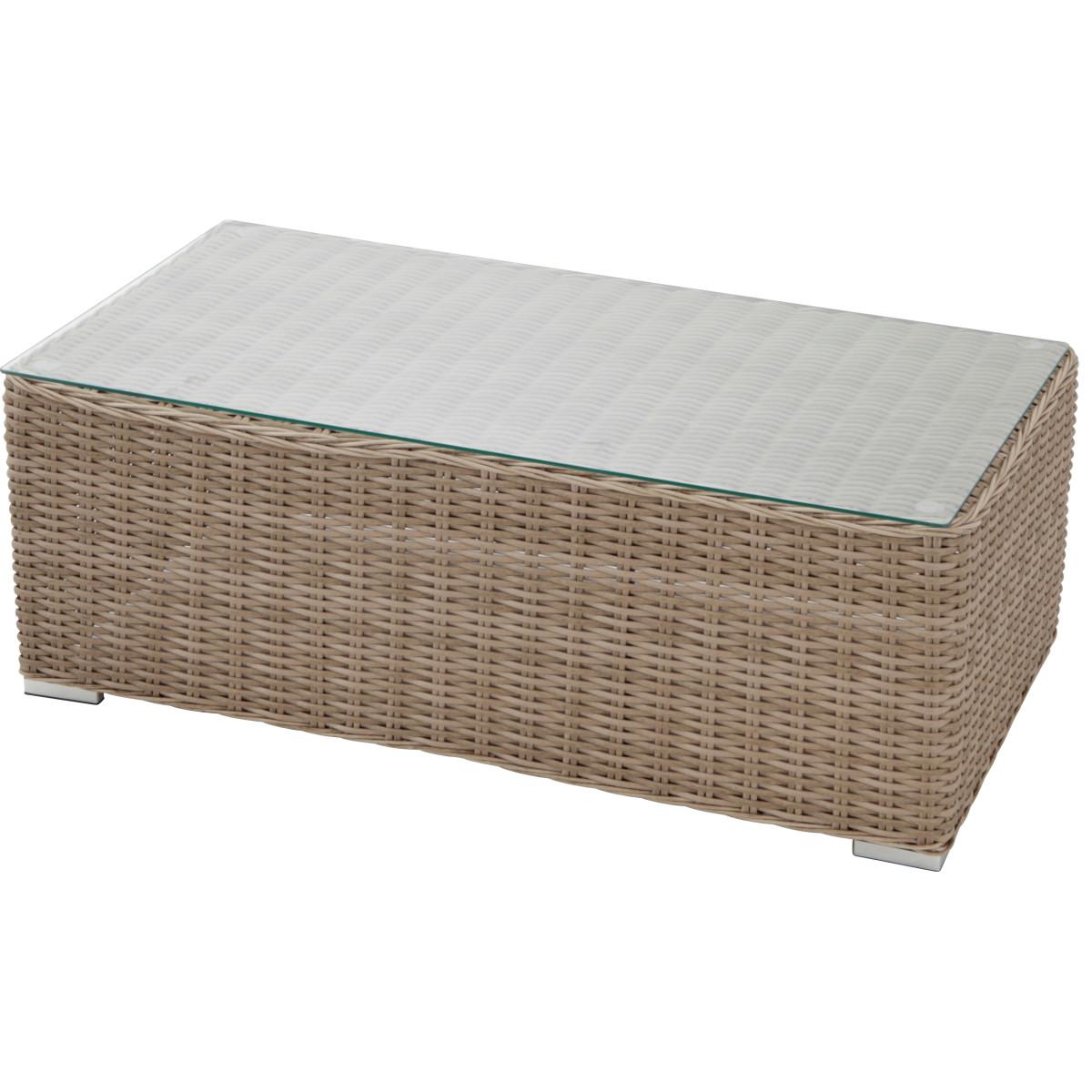 Стол садовый кофейный Alu 110x39.5 см алюминий/полиротанг цвет бежевый