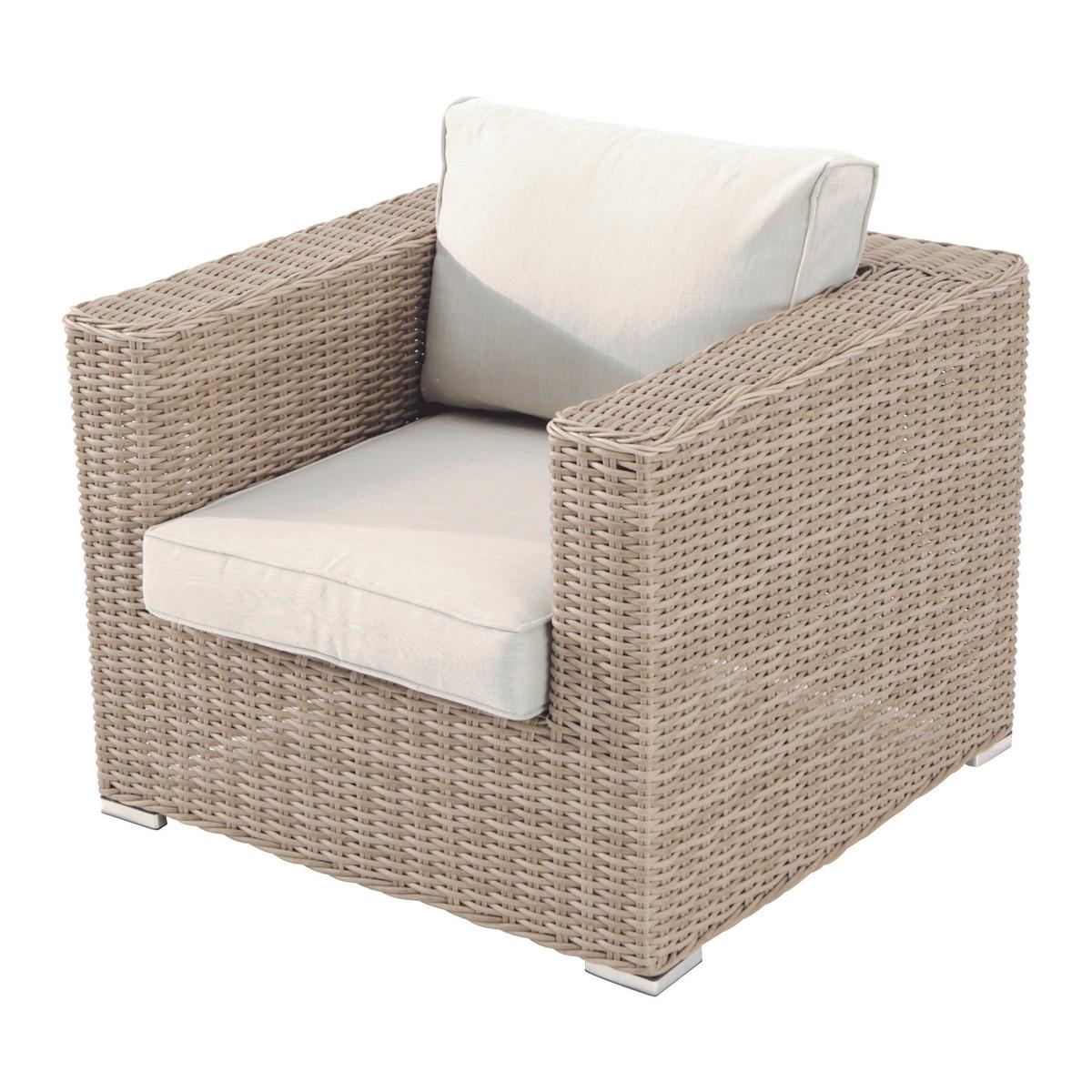 Кресло садовое Alu 820x690x800 мм алюминий/полиротанг цвет бежевый